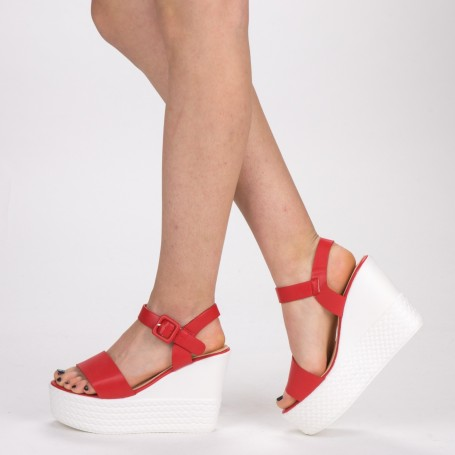 Sandale Dama cu Toc si Platforma LM253 Red Mei