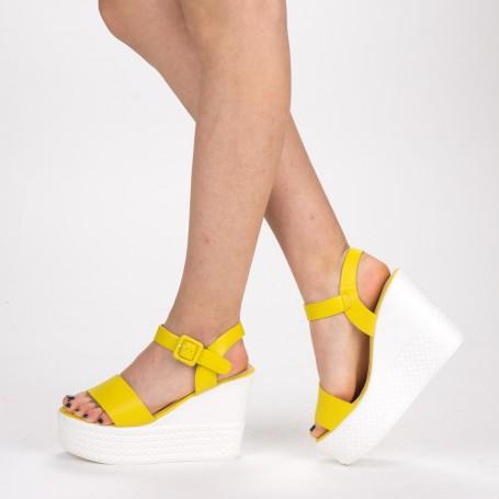 Sandale Dama cu Toc si Platforma LM253 Yellow Mei