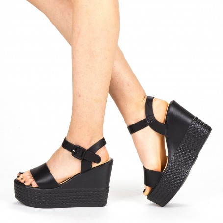 Sandale Dama cu Toc si Platforma LM253 Black Mei