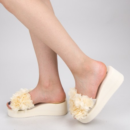 Papuci Dama cu Platforma WS152 Beige Mei