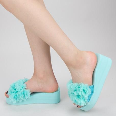 Papuci Dama cu Platforma WS152 Green Mei