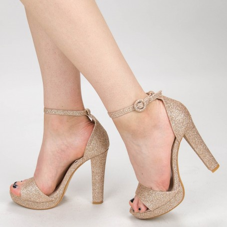 Sandale Dama cu Toc XD81F Champagne Mei