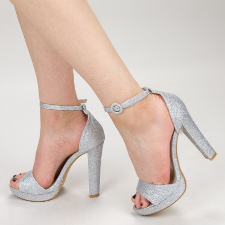 Sandale Dama cu Toc XD81F Silver Mei