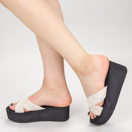 Papuci Dama cu Platforma NX3 White Mei