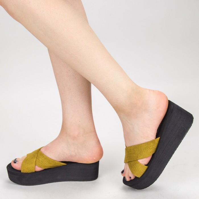 Papuci Dama cu Platforma NX3 Yellow Mei