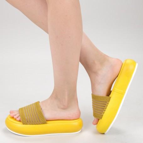 Papuci Dama cu Platforma YSY1 Yellow Mei