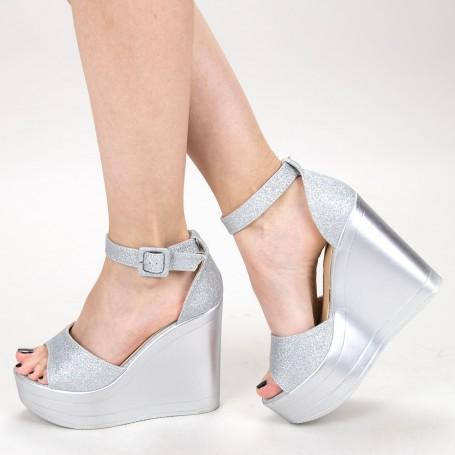 Sandale Dama cu Platforma LM285 Silver Mei