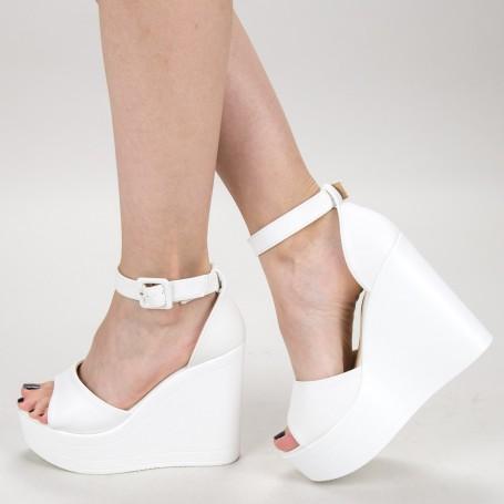 Sandale Dama cu Platforma LM285 White Mei