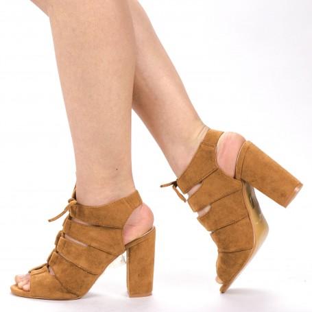 Sandale Dama cu Toc WT003 Camel Mei