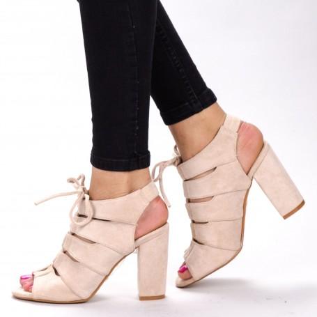 Sandale Dama cu Toc WT003 Beige Mei