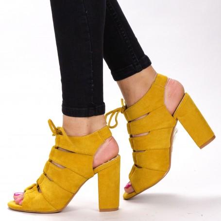 Sandale Dama cu Toc WT003 Yellow Mei