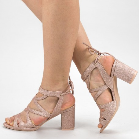 Sandale Dama cu Toc XKK229A Champagne Mei