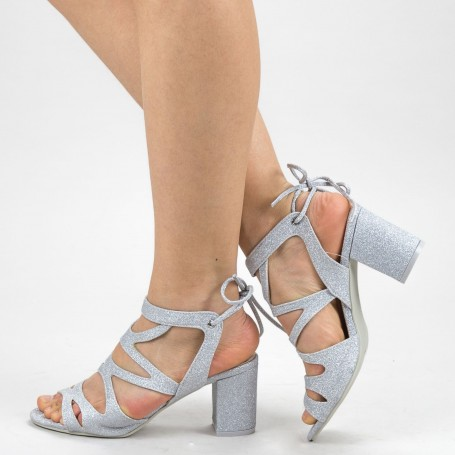 Sandale Dama cu Toc XKK229A Silver Mei