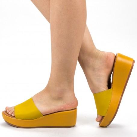Papuci Dama cu Platforma ZX1 Yellow Mei