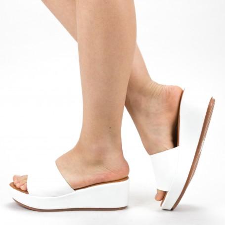 Papuci Dama cu Platforma ZX1 White Mei