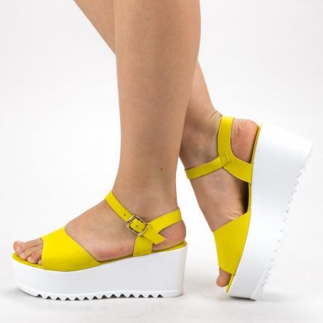 Sandale Dama Cu Platforma CZMY2 Yellow Mei