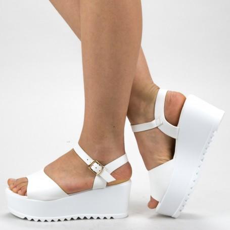 Sandale Dama Cu Platforma CZMY2 White Mei
