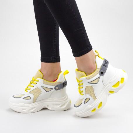 Pantofi Sport Dama cu Platforma SJN332 Cream Mei
