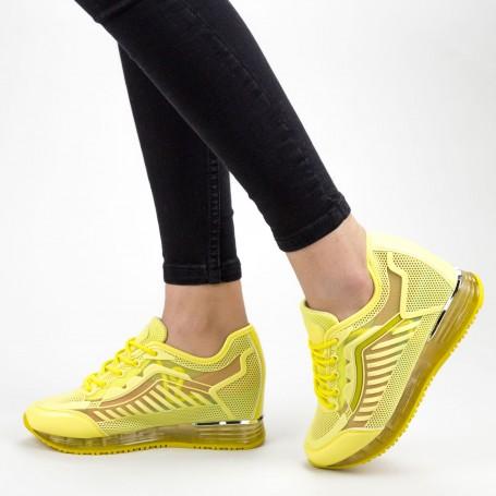 Pantofi Sport Dama cu Platforma SZ257 Yellow Mei