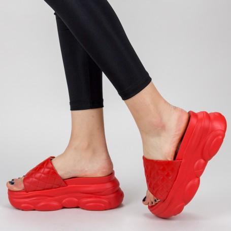 Papuci Dama cu Platforma WLGH15 Red Mei