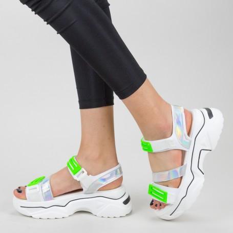 Sandale Dama cu Platforma NX95 White-Green Mei