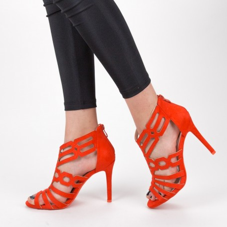 Sandale Dama cu Toc subtire GH1965 Orange Mei