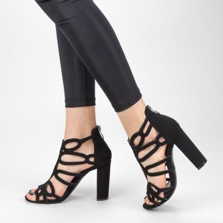 Sandale Dama cu Toc gros XKK225 Black Mei