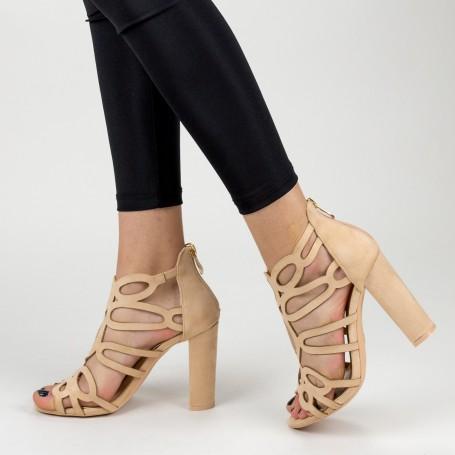 Sandale Dama cu Toc gros XKK225 Nude Mei