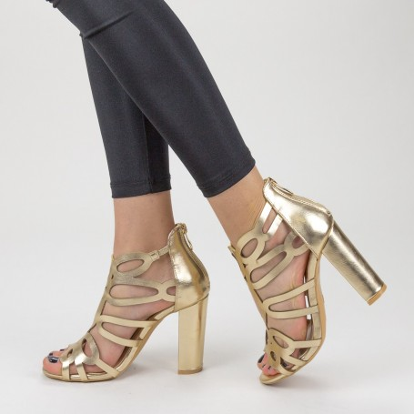 Sandale Dama cu Toc gros XKK225 Gold Mei