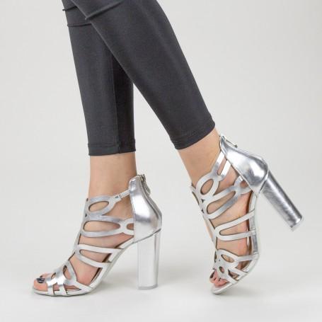 Sandale Dama cu Toc gros XKK225 Silver Mei