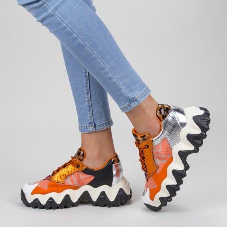 Pantofi Sport Dama cu Platforma SZ236 Orange Mei