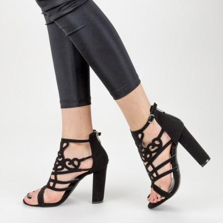 Sandale Dama cu Toc gros XKK233 Black Mei