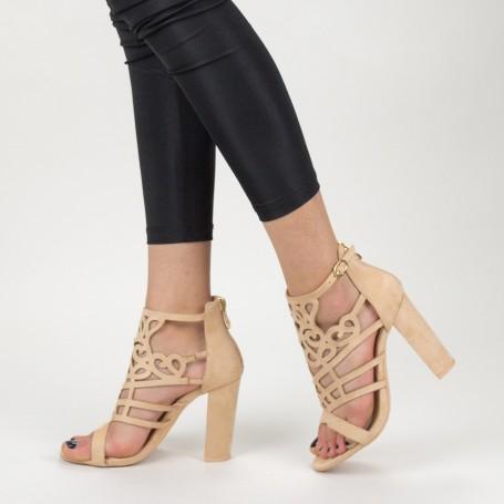 Sandale Dama cu Toc gros XKK233 Nude Mei