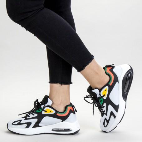 Pantofi Sport Dama 0596 PSD White-Black Mei