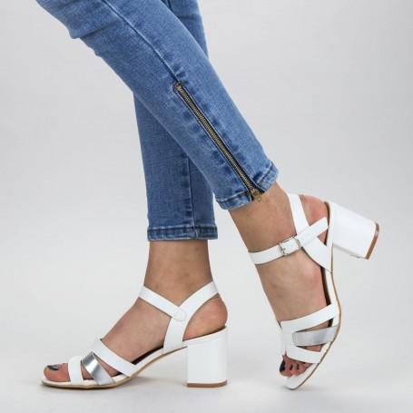 Sandale Dama cu Toc gros CS78 White Mei