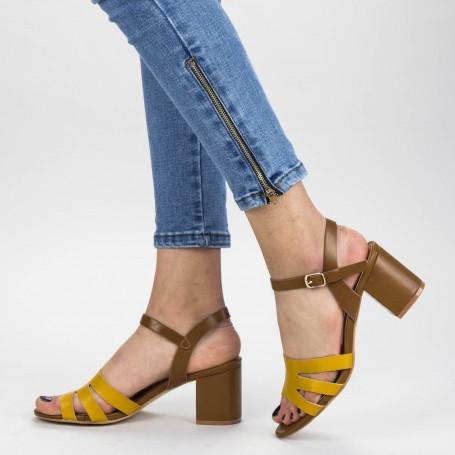 Sandale Dama cu Toc gros CS79 Brown Mei