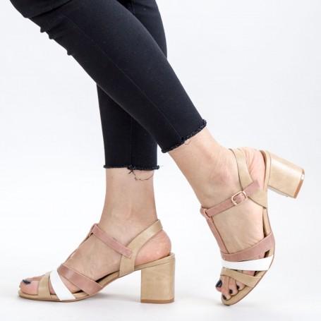 Sandale Dama cu Toc gros CS82 Beige Mei