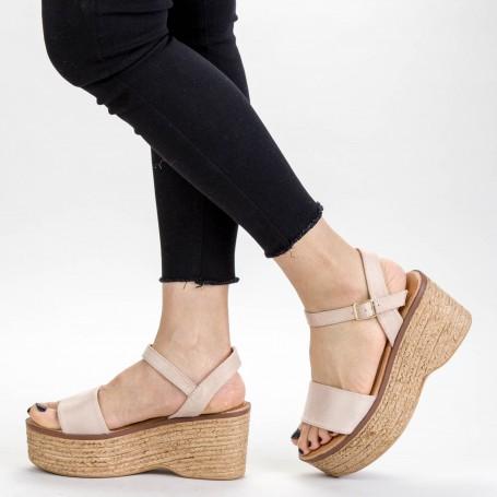 Sandale Dama cu Platforma FS15 Beige Mei