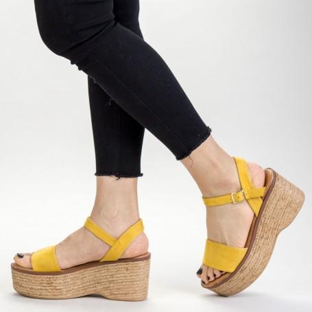 Sandale Dama cu Platforma FS15 Yellow Mei
