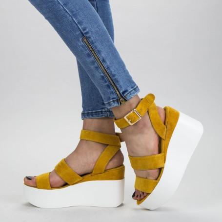 Sandale Dama cu Platforma GY10 Yellow Mei