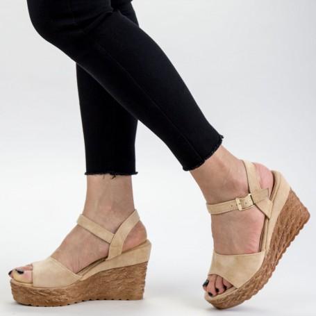 Sandale Dama cu Platforma GY8 Beige Mei