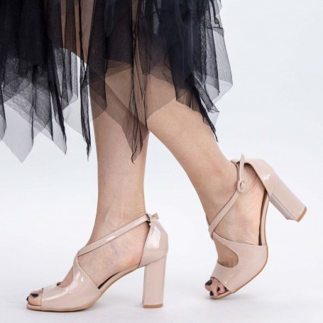 Sandale Dama cu Toc gros XD83A Nude Mei