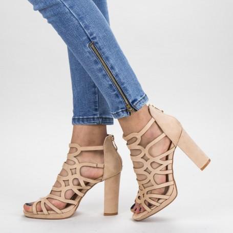 Sandale Dama cu Toc gros XKK215A Nude Mei