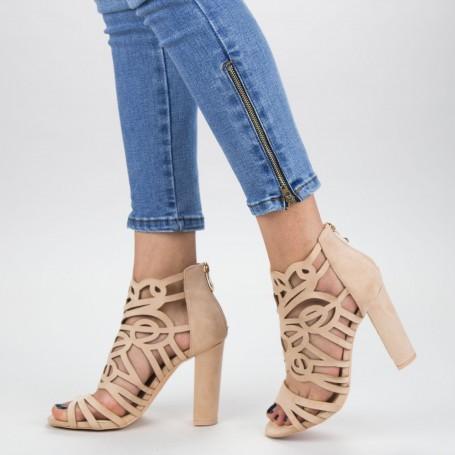 Sandale Dama cu Toc gros XKK239 Nude Mei