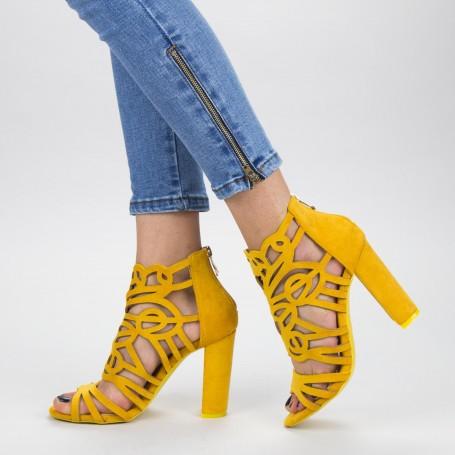 Sandale Dama cu Toc gros XKK239 Yellow Mei