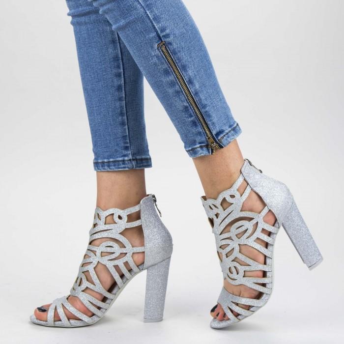 Sandale Dama cu Toc gros XKK239A Silver Mei