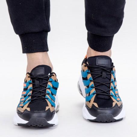 Pantofi Sport Barbati 0597 PSB Black-Khaki Mei