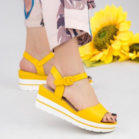 Sandale Dama cu Platforma WT9 Yellow Mei