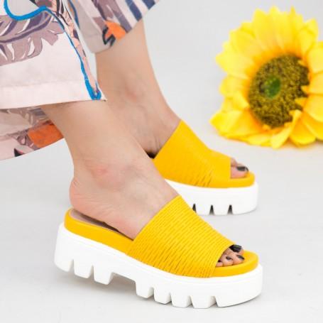 Papuci Dama cu Platforma WT11 Yellow Mei