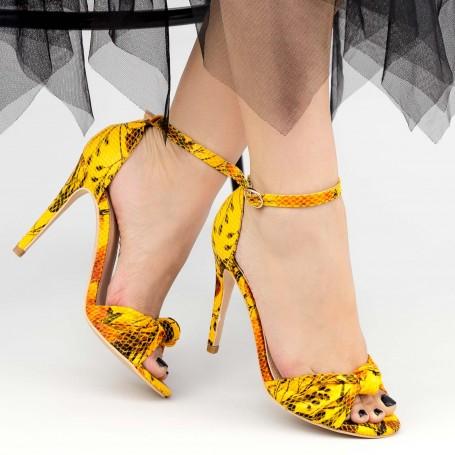 Sandale Dama cu Toc subtire YBS68 Yellow Mei